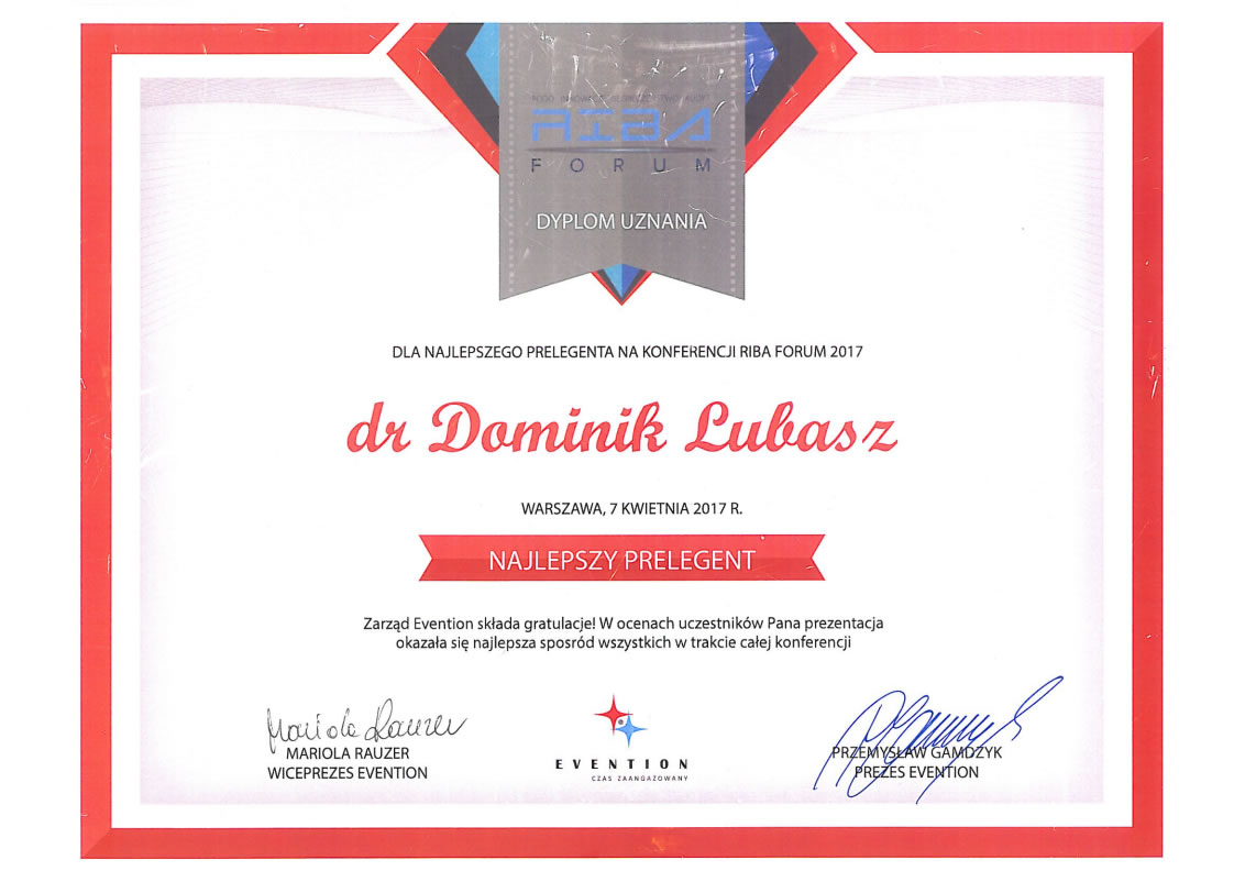 R. pr. Dominik Lubasz najlepszym prelegentem na RIBA Forum