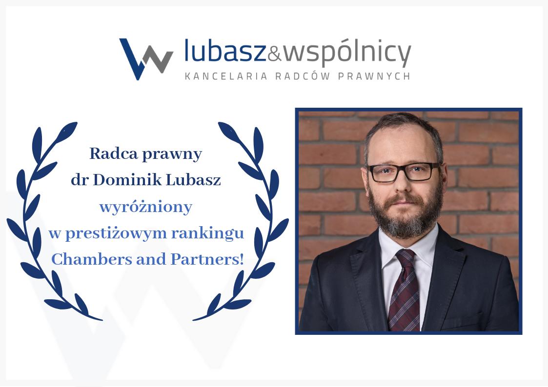 R. pr. dr Dominik Lubasz wyróżniony w rankingu Chambers&Partners!