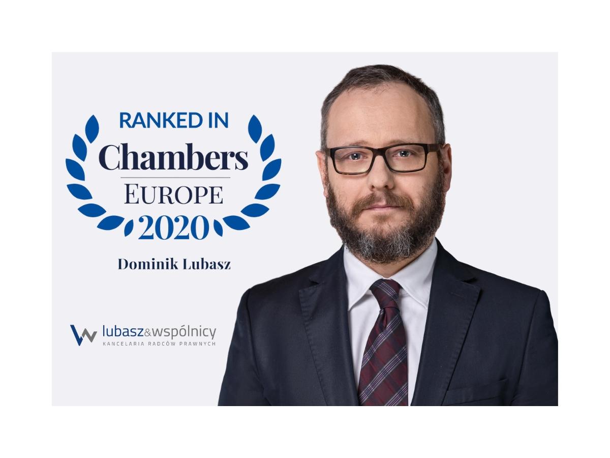 Wyróżnienie w rankingu Chambers and Partners 2020 dla r. pr. dr. Dominika Lubasza