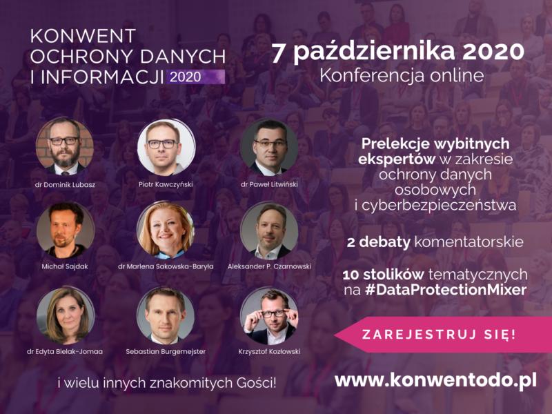 Konwent Ochrony Danych i Informacji po raz pierwszy online – 7 października 2020!